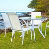 Conjunto Mestra Slim - Mesa Mestra com Tampo de Vidro Ø 110 Alumínio Branco com 4 Cadeiras Empilháveis Mestra - Tela Branca -Auimínio Branco