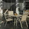 Conjunto Mestra Slim - Mesa Summer com Tampo de Vidro Ø 105 Alumínio Cinza Urbano com 4 Cadeiras Empilháveis Summer - Tela Cinza Mesclado -Alumínio Cinza Urbano