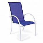 Cadeira Empilhável Mestra - Tela Azul - Alumínio Branco