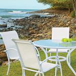 Cadeira Empilhável Mestra - Tela Branca - Alumínio Branco