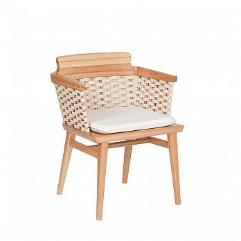 Cadeira Lótus com Braços - Trama Natural - Com Almofada