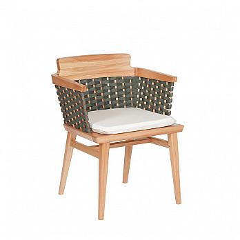 Cadeira Lótus com Braços - Trama Verde Oliva - Com Almofada