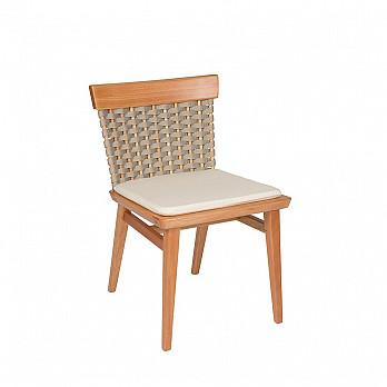 Cadeira Lótus sem Braços - Trama Cinza - Com Almofada