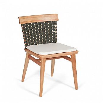 Cadeira Lótus sem Braços - Trama Verde Oliva - Com Almofada