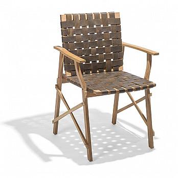 Cadeira Maresias com Braços - Couro Marrom