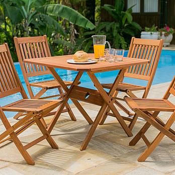 Conjunto Ipanema - Mesa Dobrável 90x90 com 4 Cadeiras Dobráveis Ipanema Sem Braços