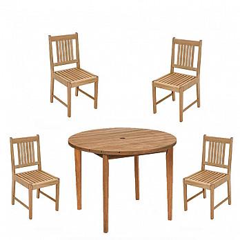 Conjunto Ipanema - Mesa Ø 100 com 4 Cadeiras Ipanema Sem Braços
