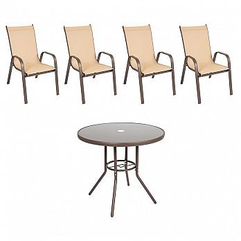 Conjunto Steel - 4  Cadeira Empilháveis Cancun - Tela Bege - Steel Marrom e 1 Mesa Cancun Ø 80 - Marrom