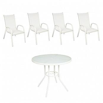 Conjunto Steel - 4 Cadeiras Empilháveis Cancun - Tela Branca - Steel Branco e  1 Mesa Cancun Ø 80 - Branco