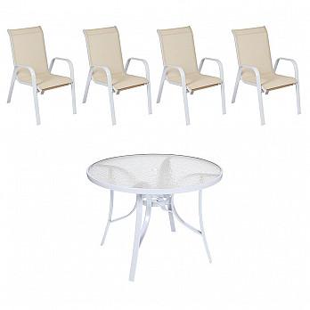 Conjunto Mestra Slim - Mesa Summer com Tampo de Vidro Ø 105 Alumínio Branco com 4 Cadeiras Empilháveis Summer - Tela Bege -Alumínio Branco