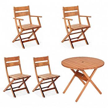 Conjunto Verona - Mesa Dobrável Ø 90 com 4 Cadeiras Dobráveis Verona