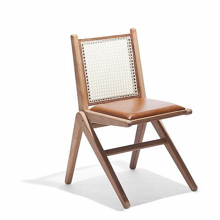 Cadeira CM9 sem Braços - Assento Estofado Couro Marrom/Encosto Palha