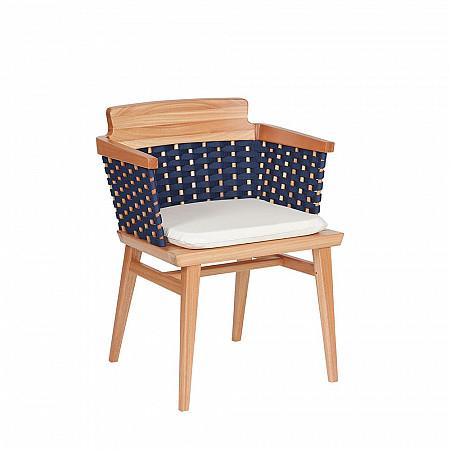 Cadeira Lótus com Braços -Trama Azul Marinho - Com Almofada