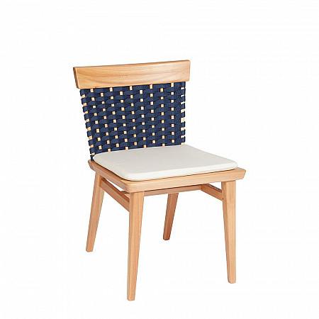 Cadeira Lótus sem Braços - Trama Azul Marinho - Com Almofada