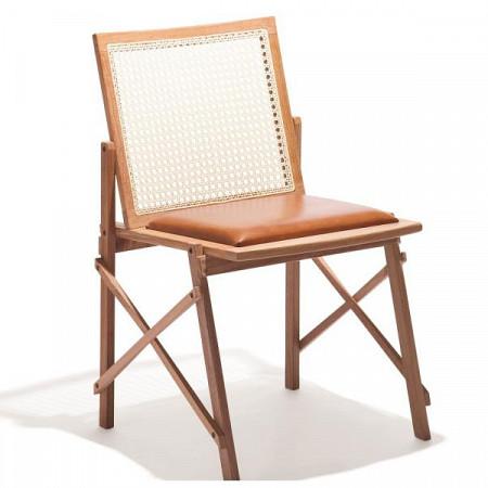 Cadeira Maresias sem Braços - Assento Estofado Couro Marrom/Encosto Palha