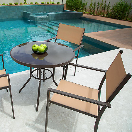 Conjunto Steel - 4  Cadeira Empilháveis Square - Tela Bege - Steel Marrom e 1 Mesa Cancun Ø 80 - Marrom
