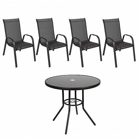 Conjunto Steel - 4 Cadeiras Empilháveis Cancun - Tela Preta - Steel Preto e 1 Mesa Cancun Ø 80 - Preto