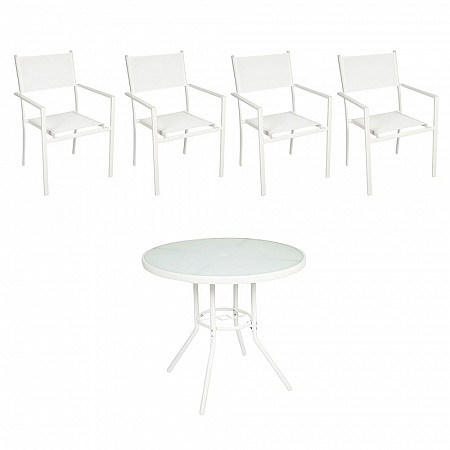 Conjunto Steel - 4 Cadeiras Empilháveis Square - Tela Branca - Steel Branco e  1 Mesa Cancun Ø 80 - Branco