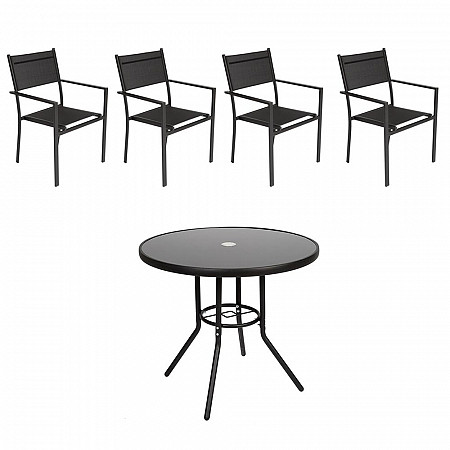 Conjunto Steel - 4 Cadeiras Empilháveis Square - Tela Preta - Steel Preto e 1 Mesa Cancun Ø 80 - Preto