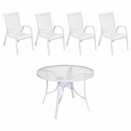 Conjunto Mestra Slim - Mesa Summer com Tampo de Vidro Ø 105 Alumínio Branco com 4 Cadeiras Empilháveis Summer - Tela Branca -Alumínio Branco
