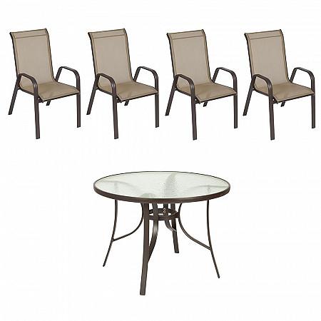 Conjunto Mestra Slim - Mesa Summer com Tampo de Vidro Ø 105 Alumínio Marrom com 4 Cadeiras Empilháveis Summer - Tela Marrom -Alumínio Marrom