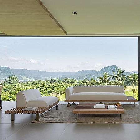 Sofá Ripas Direito - Indoor 3 Lugares
